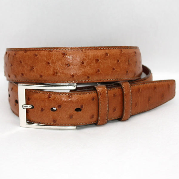 Torino Leather Saddle Ostrich Belt