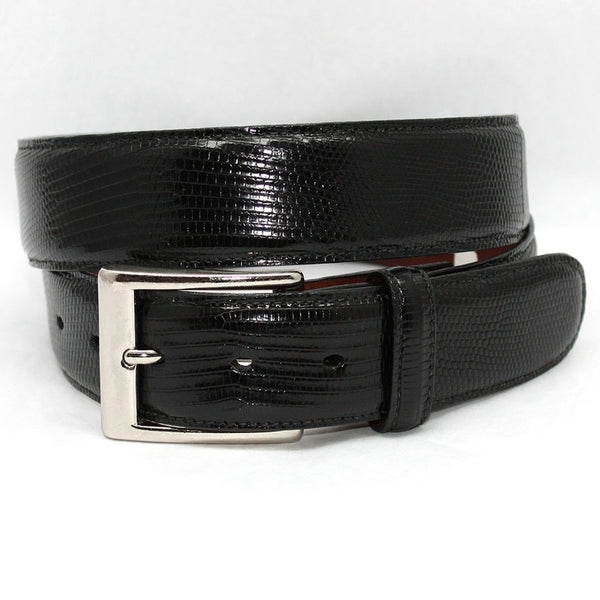 Torino Leather Black Lizard Belt