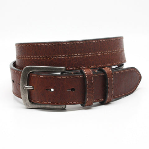 Torino Leather Brown American Waxed Shrunken Bison Belt