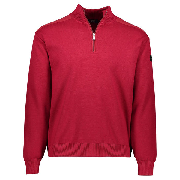 Paul & Shark Marine Wool Sweater With Zip C0P1028 - Red