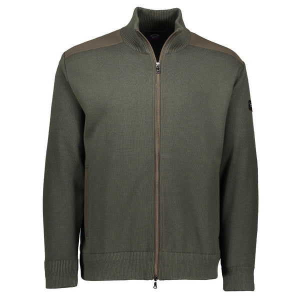 Paul & Shark Marine Wool Cardigan With Zip C0P1029 - Military Green