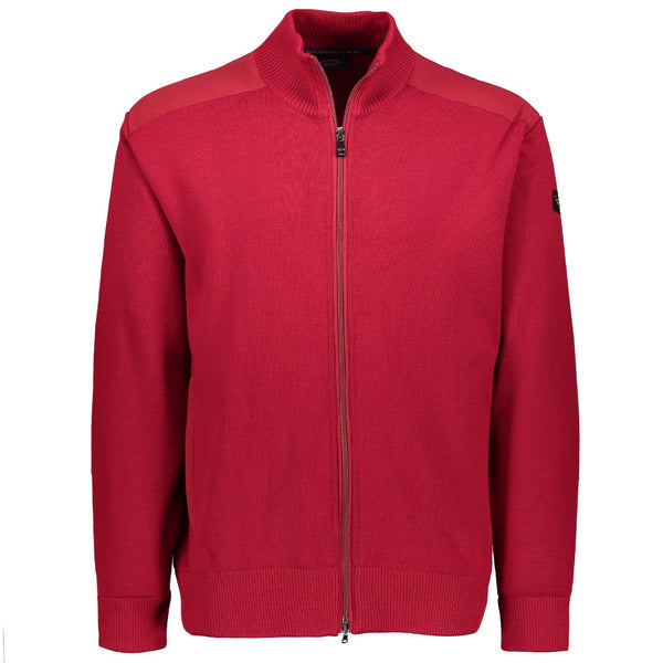 Paul & Shark Marine Wool Cardigan With Zip C0P1029 - Red