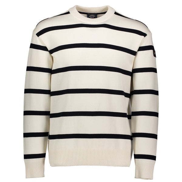 Paul & Shark Striped Wool Crewneck Sweater C0P1031 - Ivory