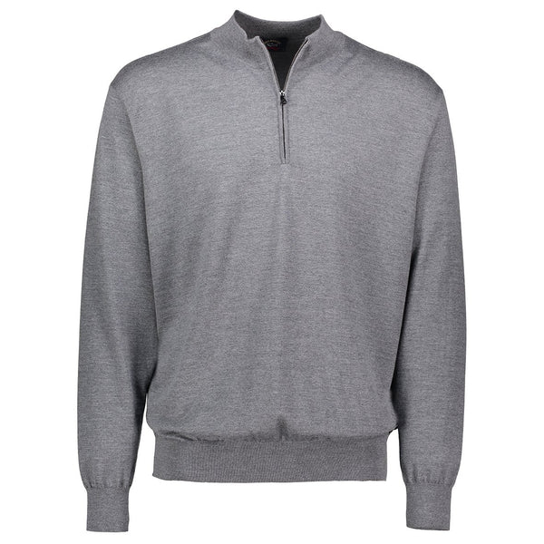 Paul & Shark Wool Sweater With Zip C0P1049 - Mid Grey