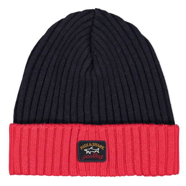 Paul & Shark Wool Hat In The Two Tone Shades C0P1054 - Navy / Red