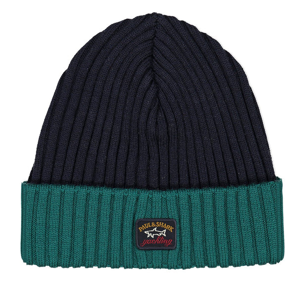 Paul & Shark Wool Hat In The Two Tone Shades C0P1054 - Navy / Emerald