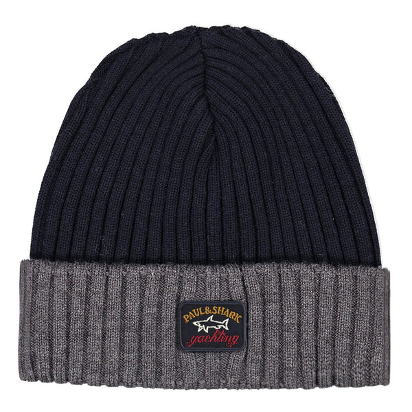 Paul & Shark Wool Hat In The Two Tone Shades C0P1054 - Navy / Charcoal Grey