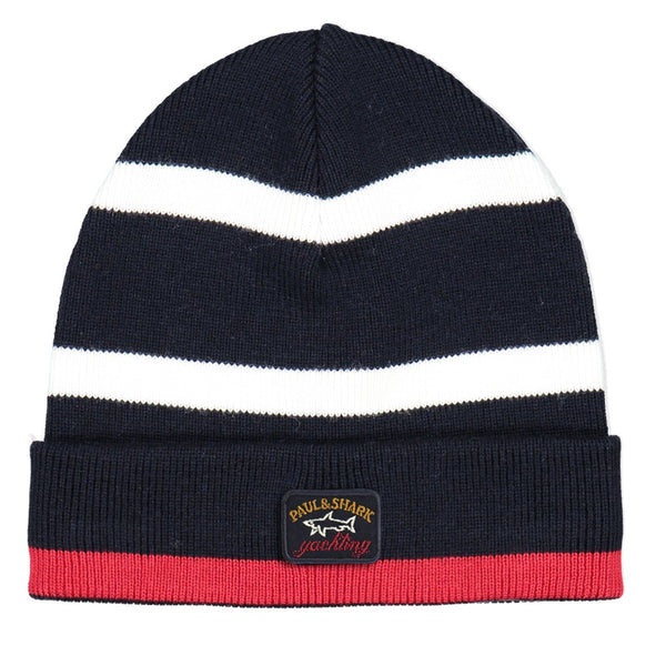 Paul & Shark Multi Coloured Striped Wool Hat C0P1066 - Navy / White