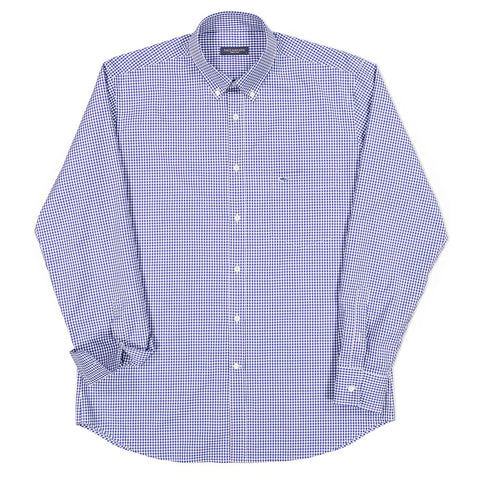 Paul & Shark Check Cotton Shirt C0P3004 - Royal Blue / White