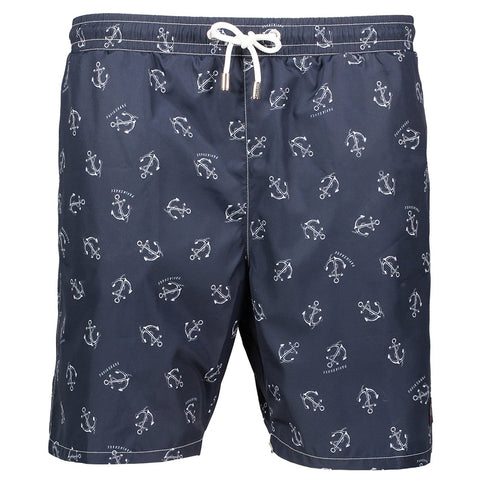 Paul & Shark Swimsuit In Anchor Print Technical Fabric C0P5003 - Navy