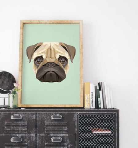 Image of Pug Geometric Art Print Canvas  / Animal Painting -  Sport Pet Shop