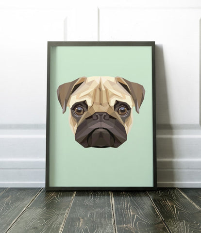 Pug Geometric Art Print Canvas  / Animal Painting