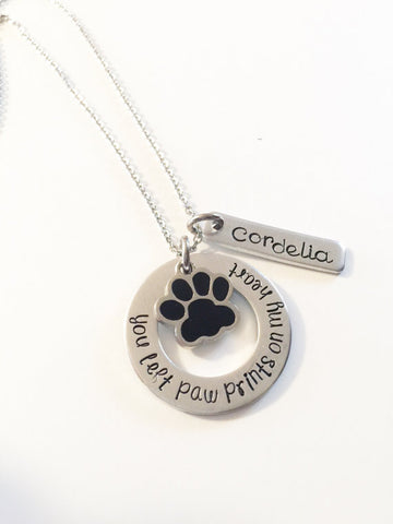Hand stamped necklace - Pet memorial