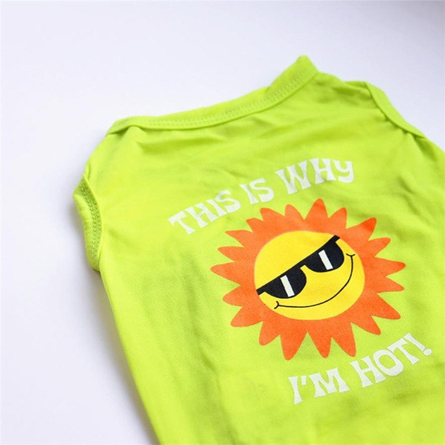 Emoji Sun Dog Clothes Shirt Sleeveless -  Sport Pet Shop