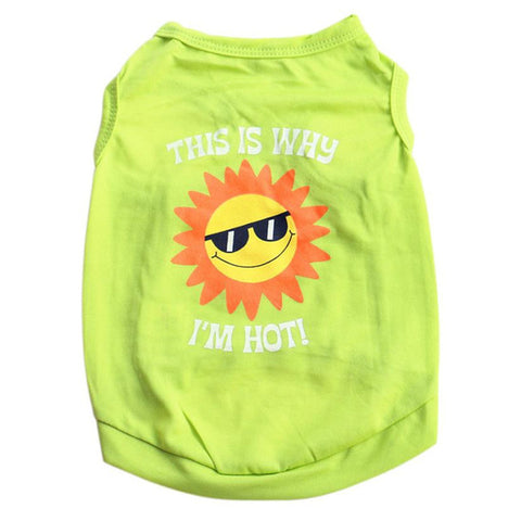 Image of Emoji Sun Dog Clothes Shirt Sleeveless -  Sport Pet Shop