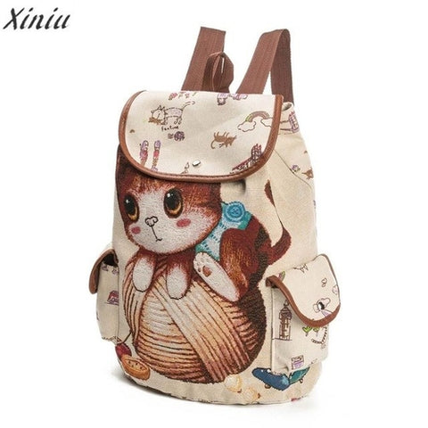 Backpack Women Cat Printing Canvas -  Sport Pet Shop