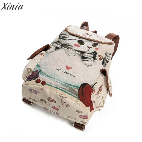 Image of Backpack Women Cat Printing Canvas -  Sport Pet Shop
