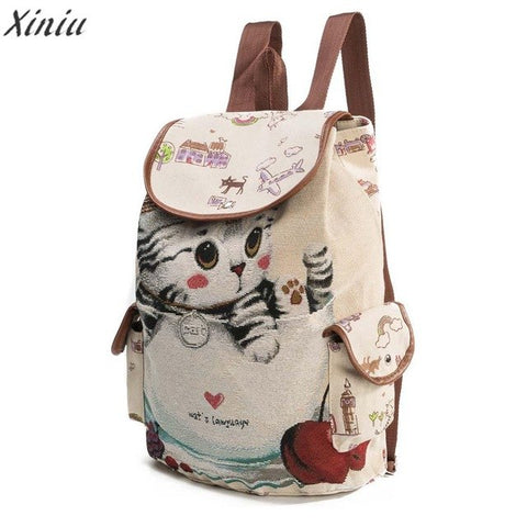 Backpack Women Cat Printing Canvas