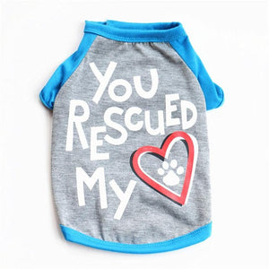 Letter You Rescued My Heart Dog T Shirt -  Sport Pet Shop