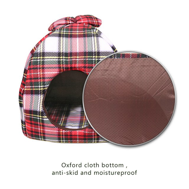 Dog Bed /  House Bowknot Plaid -  Sport Pet Shop