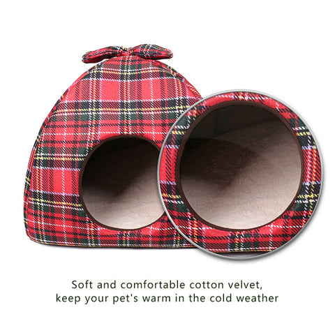 Dog Bed /  House Bowknot Plaid