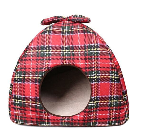 Image of Dog Bed /  House Bowknot Plaid -  Sport Pet Shop