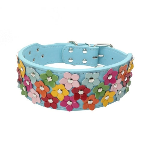 Leather Flower Dog Collars Small / Medium