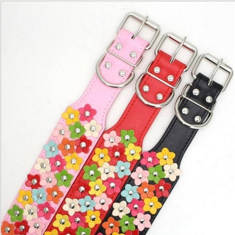 Image of Leather Flower Dog Collars Small / Medium -  Sport Pet Shop