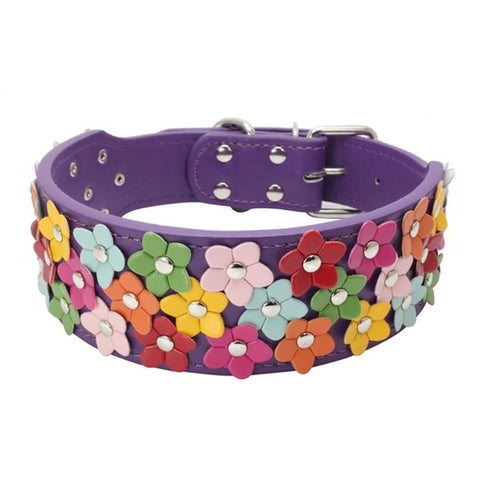 Leather Flower Dog Collars Small / Medium -  Sport Pet Shop