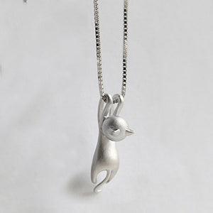 Women Silver Plated Necklace Cat Pendant