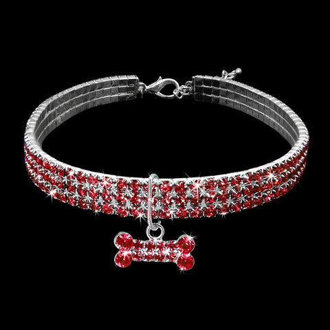Rhinestone Puppy Dog /Cat Collars /Bone Charm Pendant -  Sport Pet Shop