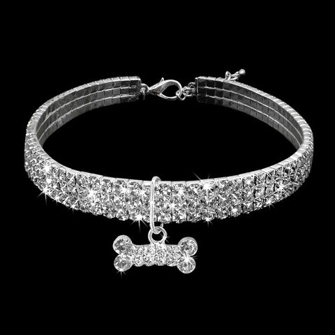 Image of Rhinestone Puppy Dog /Cat Collars /Bone Charm Pendant -  Sport Pet Shop