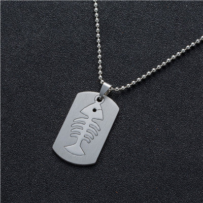 Image of Stainless Steel Mens Tags Necklace -  Sport Pet Shop