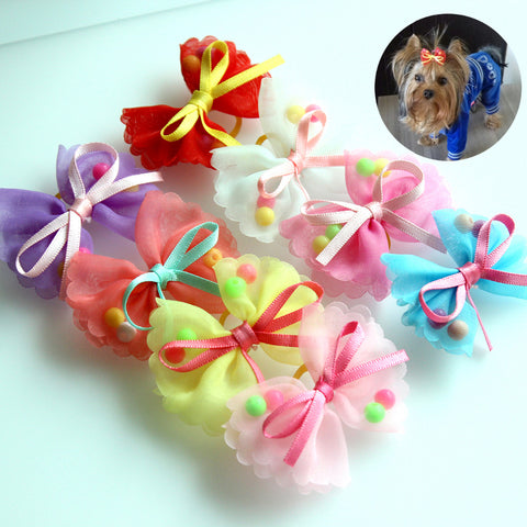 Image of 10pcs Chiffon Bibbon Hair Rubber bands -  Sport Pet Shop