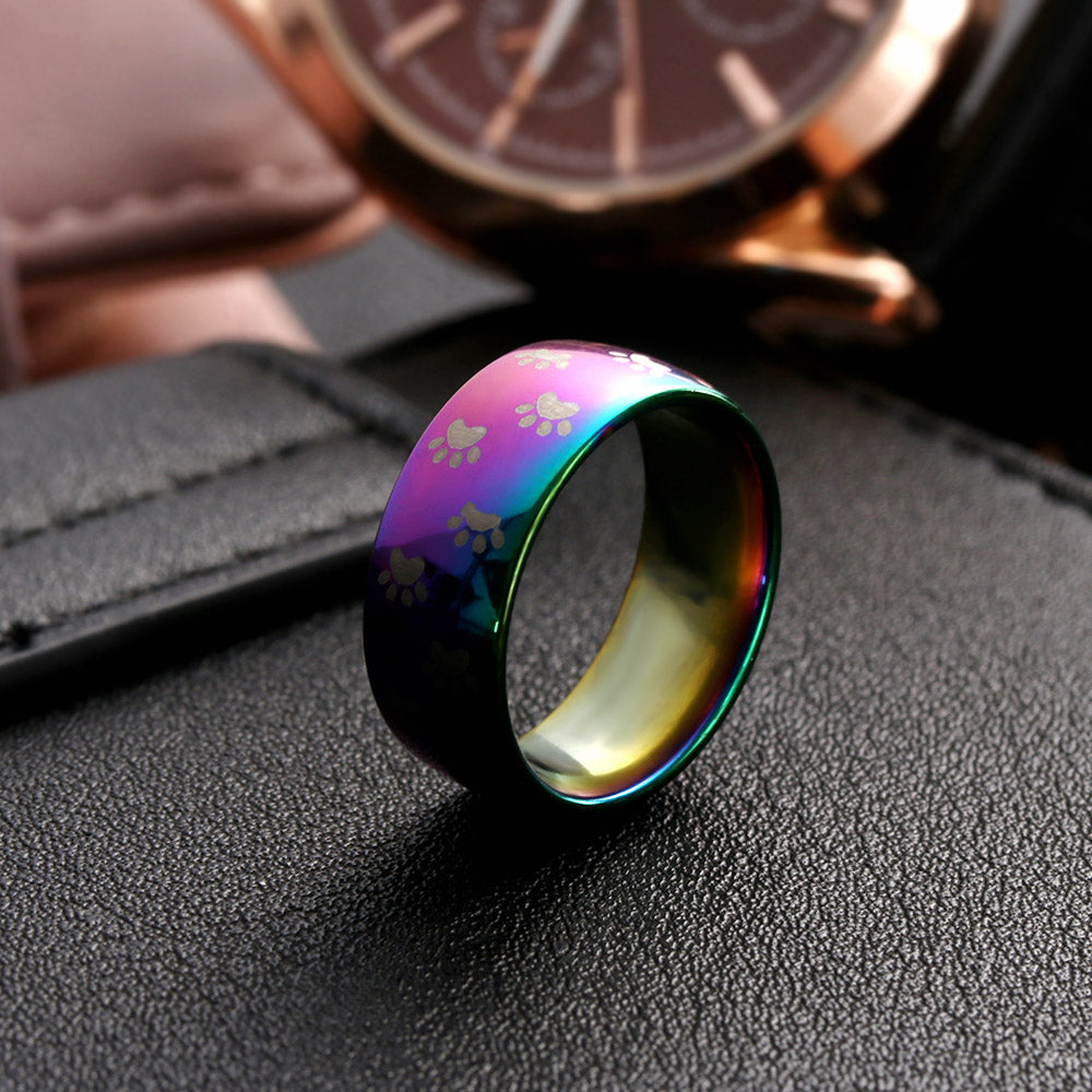 Cute Dog /Cat Paw Stainless Steel Rainbow Ring -  Sport Pet Shop