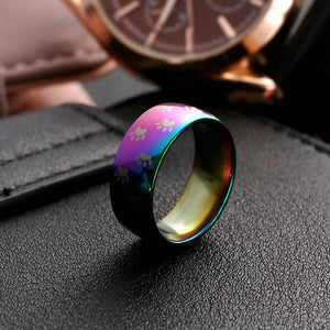 Cute Dog /Cat Paw Stainless Steel Rainbow Ring