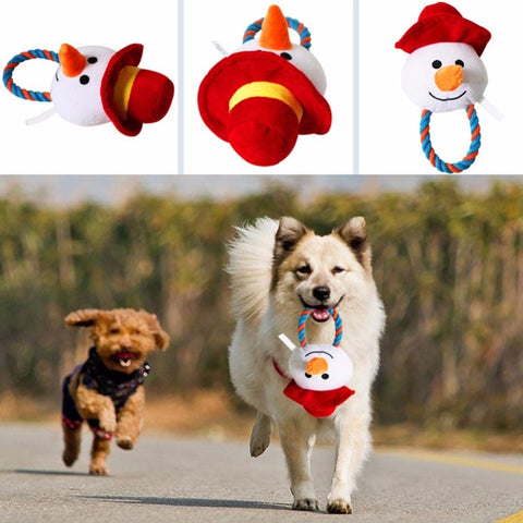Christmas Plush Dog Toy / Teeth Cleaning with Sounder Santa Claus Snowman
