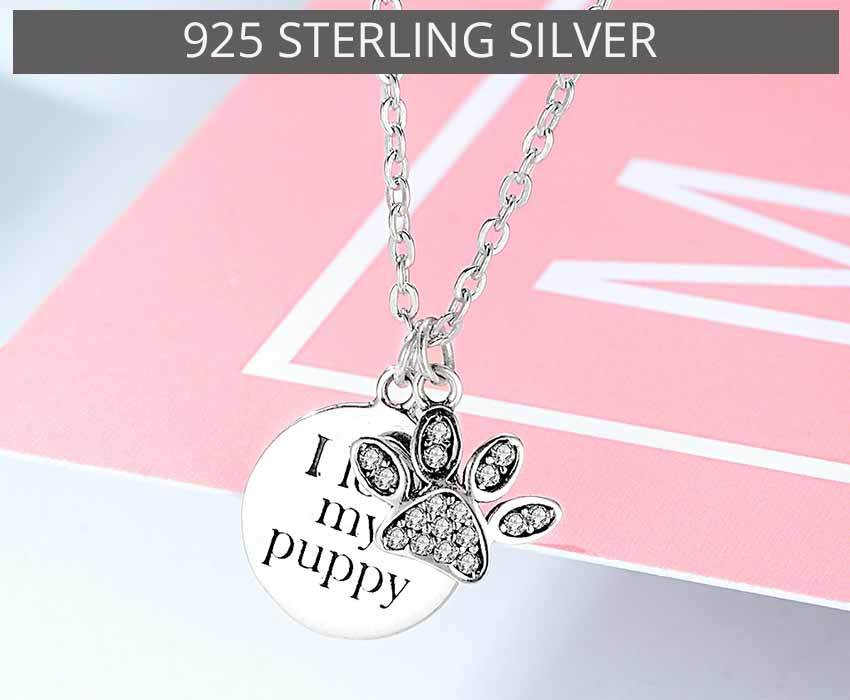 Silver Necklace I love my puppy Paw Claw Pendant Necklace -  Sport Pet Shop