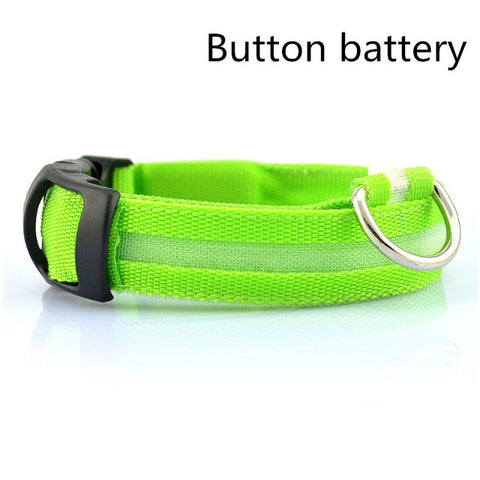 Image of Dog LED Collar /Nylon Night Safety Anti-lost Light Up Flashing USB Collars