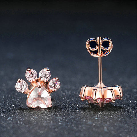Shiny Pink Dog Paw Stud Earrings -  Sport Pet Shop