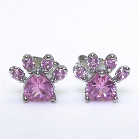 Shiny Pink Dog Paw Stud Earrings