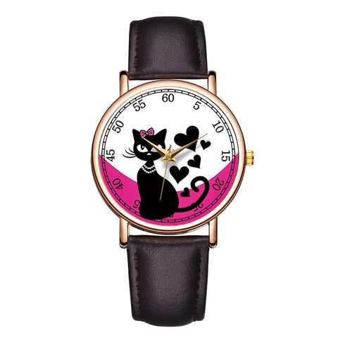 Image of Lovely Cat Pet Painting Watches For Women