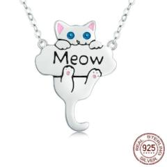 Silver Cute Cat Meow Pendant Necklace For Women