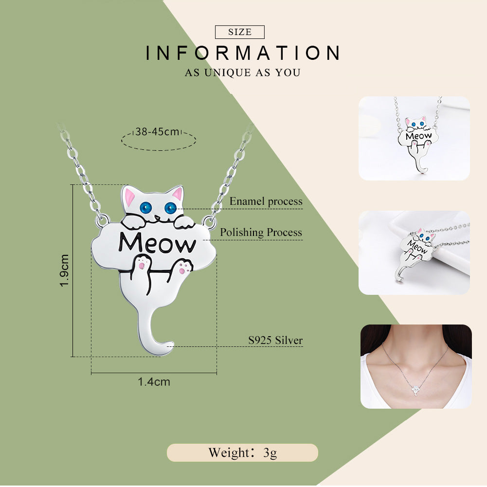 Silver Cute Cat Meow Pendant Necklace For Women -  Sport Pet Shop