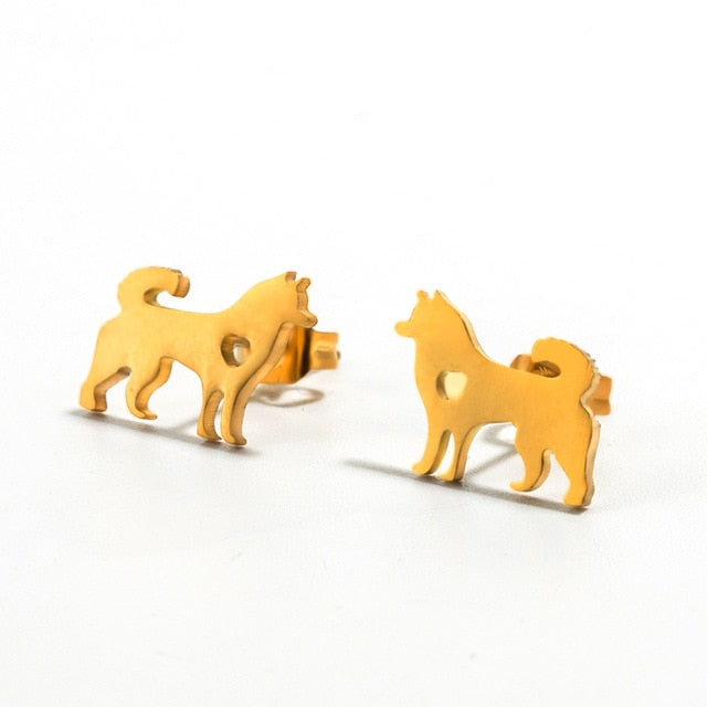 Minimalist Golden and Silver Stainless Steel Animal Cute Stud Earrings -  Sport Pet Shop