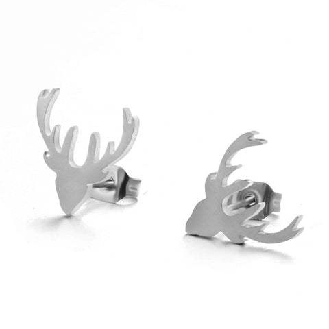 Minimalist Golden and Silver Stainless Steel Animal Cute Stud Earrings