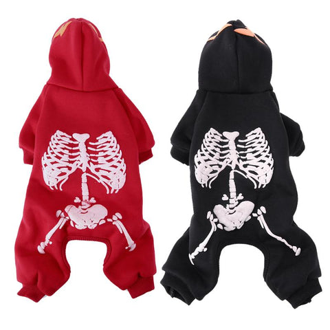Image of Dog Puppy Costume Halloween Skull Design/ Glow at Night -  Sport Pet Shop