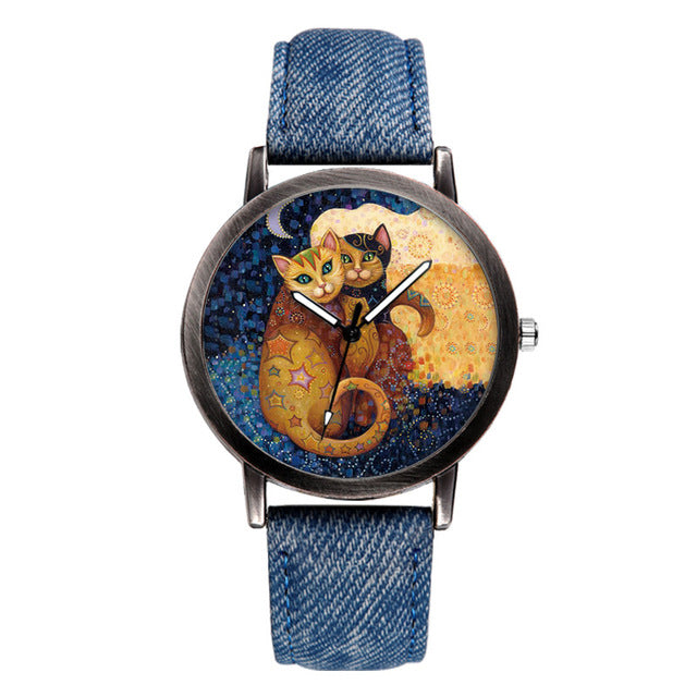 Denim Strap Wrist Cat Watch -  Sport Pet Shop