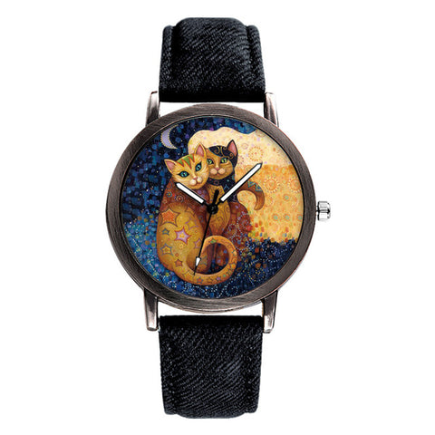 Image of Denim Strap Wrist Cat Watch -  Sport Pet Shop