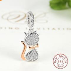 Image of Rose Gold Cat Charm Bead Fit Pandora Bracelets